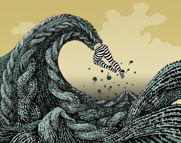 Yuko Shimizu, The Big Wave (after Hokusai), 2002-03