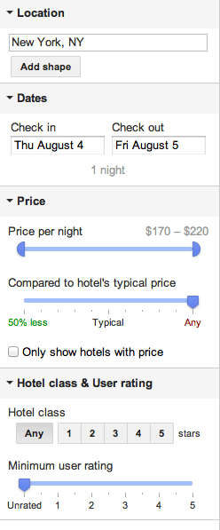 Hotels search engine