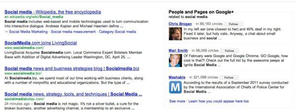 Google+ results