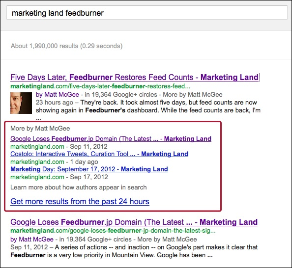 Snapshot of reach result with highlighted SERP feature