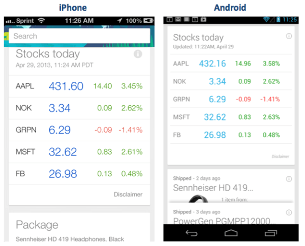 Google Now screens comparison