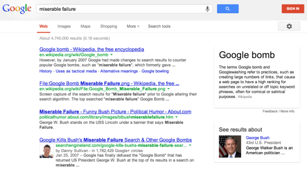 google-miserable-failure-bush-knowledge-graph