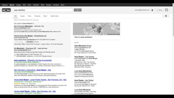 mashable organic search result test