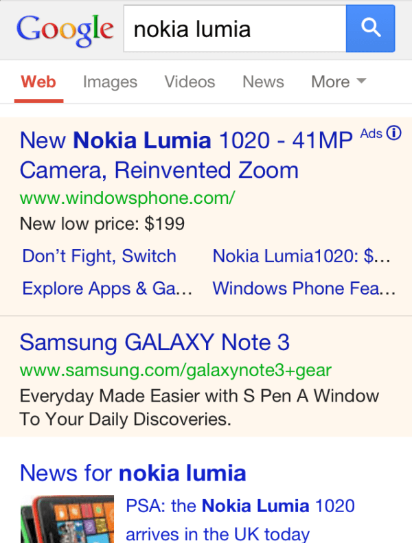 Adwords Mobile Results Yellow Background