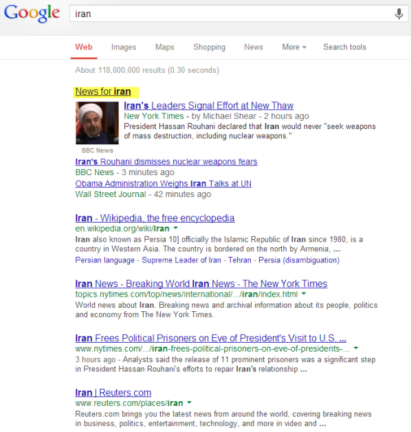 Google SERP with News module