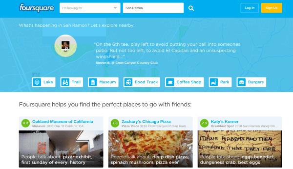 New Foursquare homepage