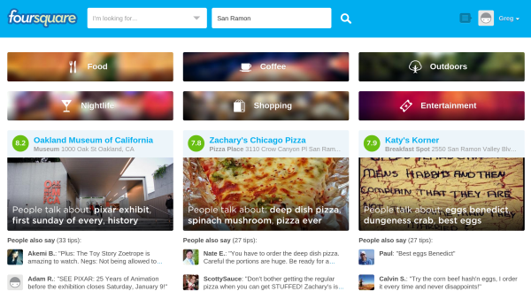Foursquare signed in new homepage