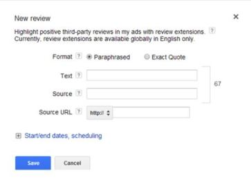 AdWords Review Extension set up