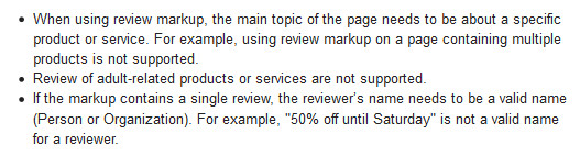 Aggregate Reviews Guidelines - Rich Snippets