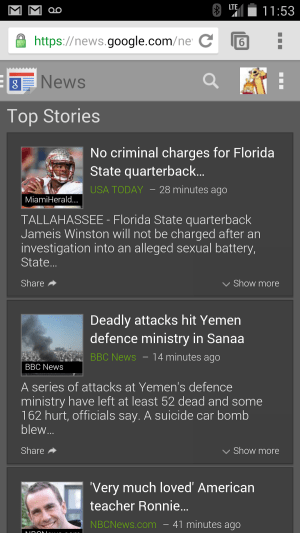 Google News Top Stories dark background
