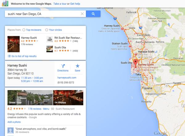 Google Maps Sushi single result