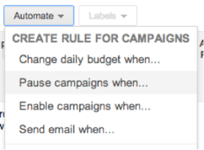 Dropdown showing the options for pausing AdWords campaigns