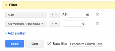 setting up an sqr filter in AdWords