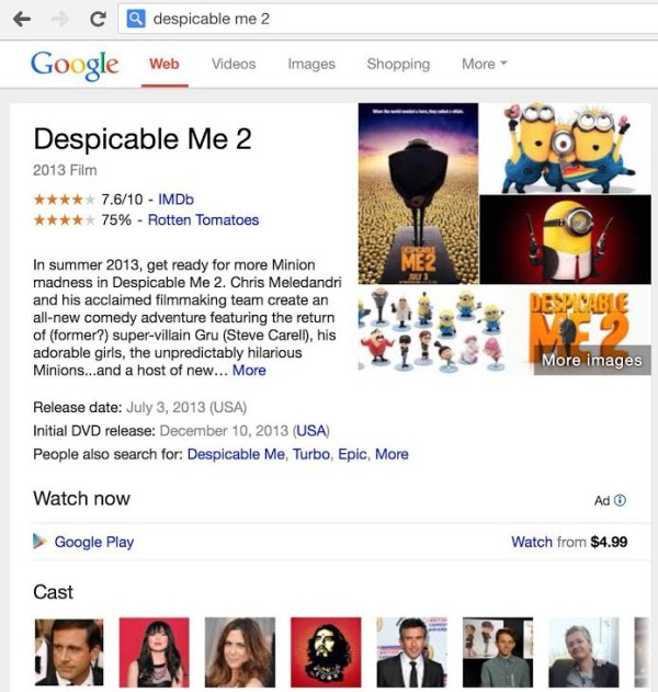 Ads in Google Knowledge Graph Despicable Me 2