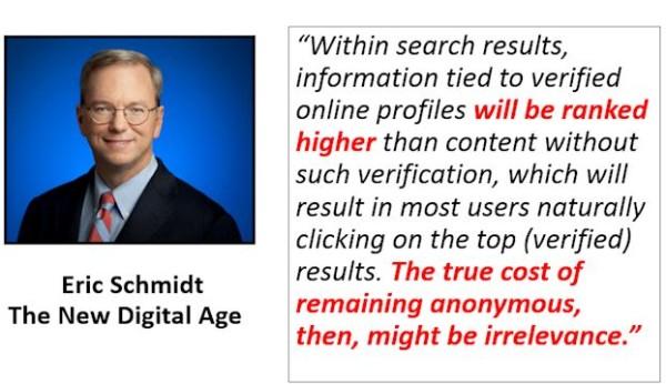 Eric Schmidt on Verified Profiles