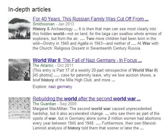 In Depth Articles Sample Result