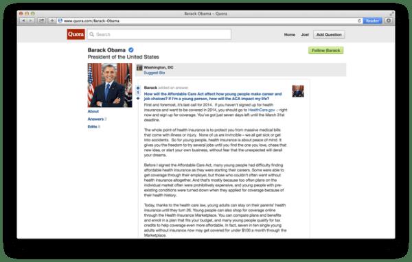 Barack Obama Quora profile March 2014