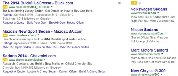 Car ads on Adwords