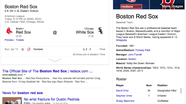 Red Sox Search in Google