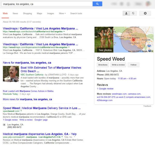 Marijuana SERP in Los Angeles California - Google