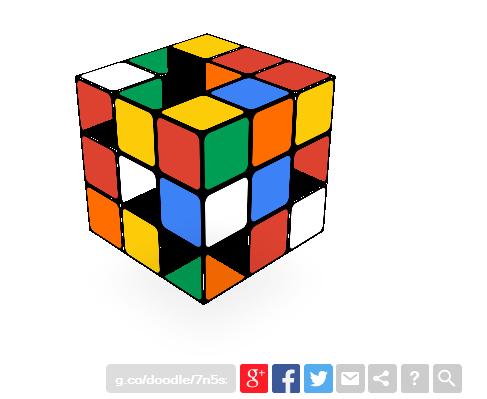 40th Anniversary Rubiks Cube Google logo 2014