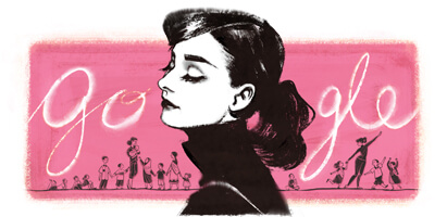 Audrey Hepburn 85th Birthday google logo