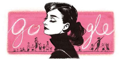 Audrey Hepburn 85th Birthday google logo