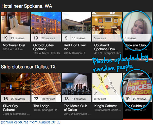Google Local Carousel examples from August 2013