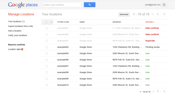 Google locations bulk upgrade with social may 2014
