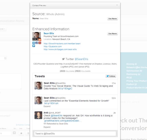 CRM social profiles