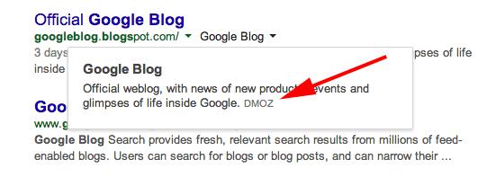 google-snippet-dmoz