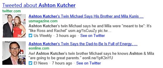 Bing Tweets news stories