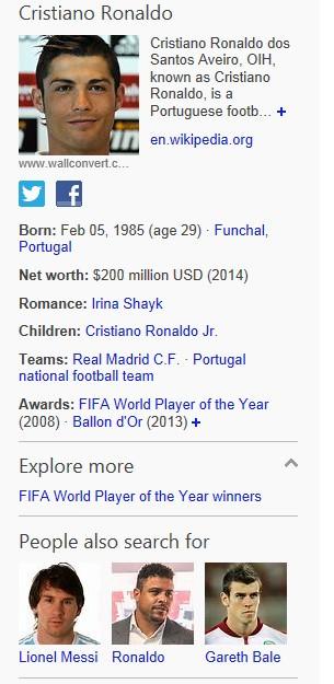 Bing World Cup player snapshot