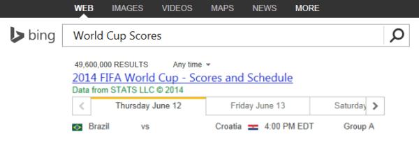 Bing World Cup schedule