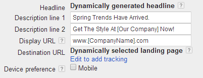 Creating a dynamic search ad in AdWords