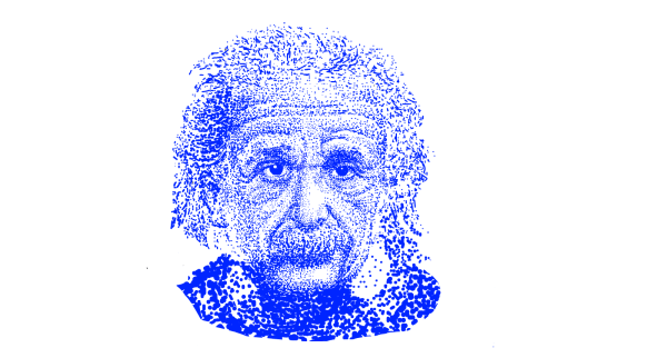 Pointillist photo of Albert Einstein, courtesy of SketchPort