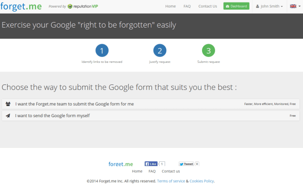 Forget.me submit requests right to be forgotten