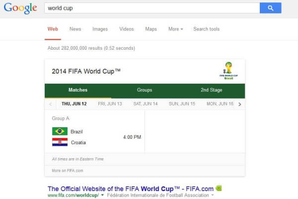 Google World Cup Search Results