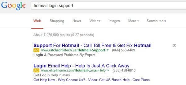 Hotmail login support ads