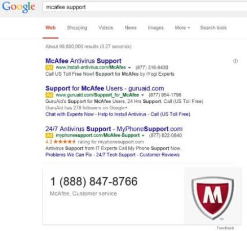 Tech support ads McAfee