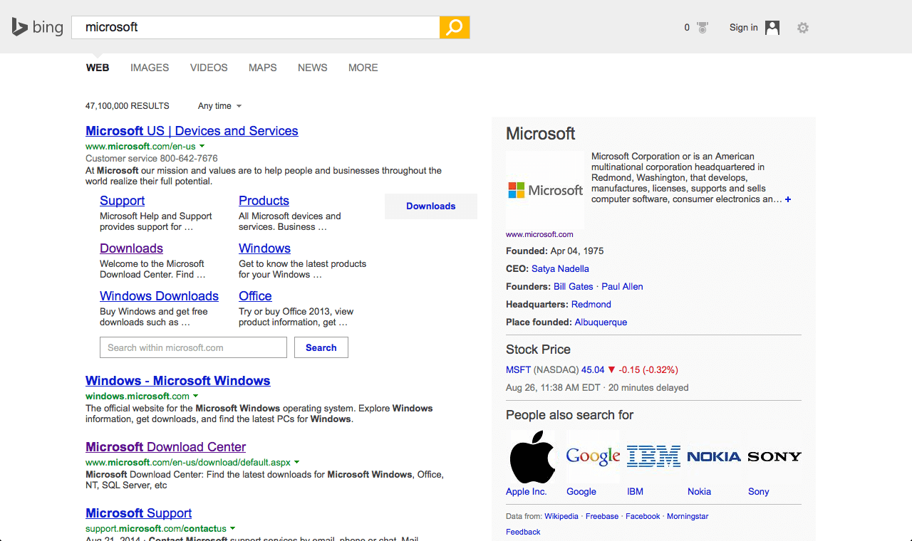 Bing Tests New Search Results Design & Top Navigation