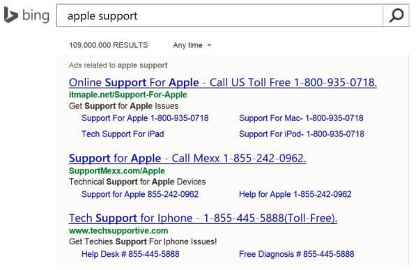 Bing Ads Apple Support