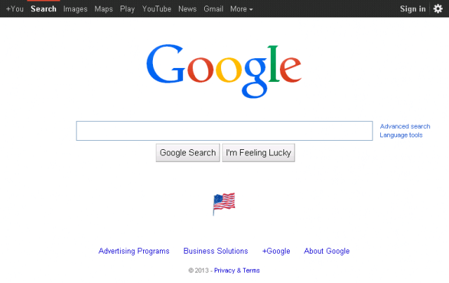 Google old homepage