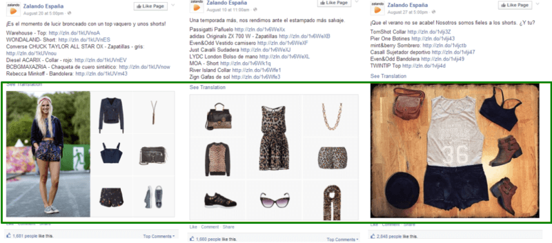 Fashion tips go down well for Zalando's audience on Facebook in Spain.