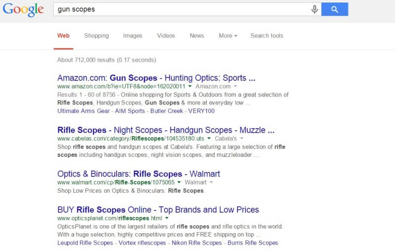 Google AdWords new policy center no ads for gun scopes