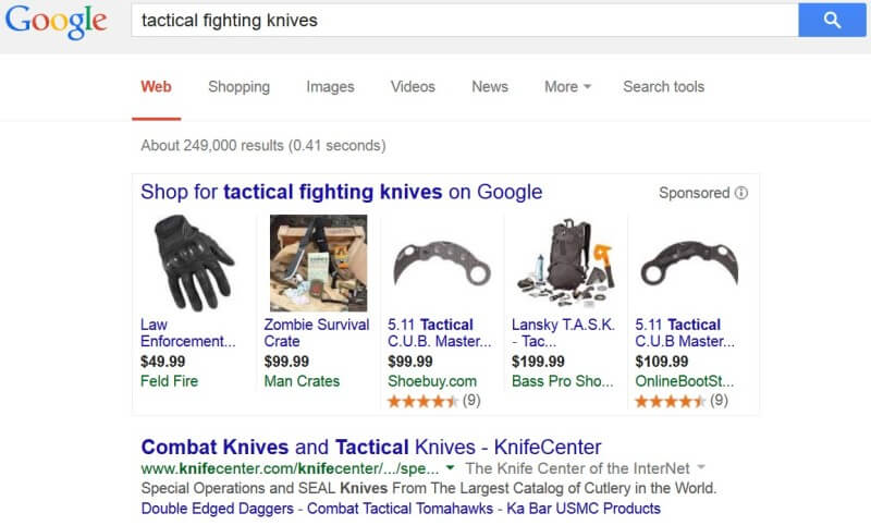 Google AdWords Policy tactical fighting knives still allowed