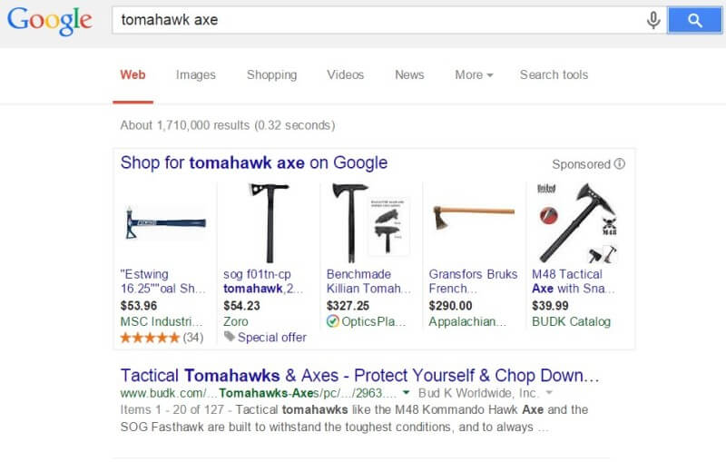 Google AdWords policy Tomahawk axe ads allowed