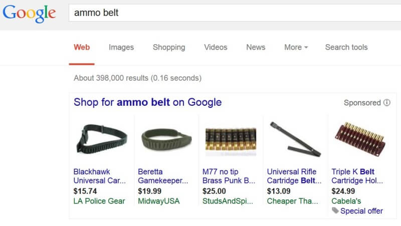 Google adwords new policy ammo belts