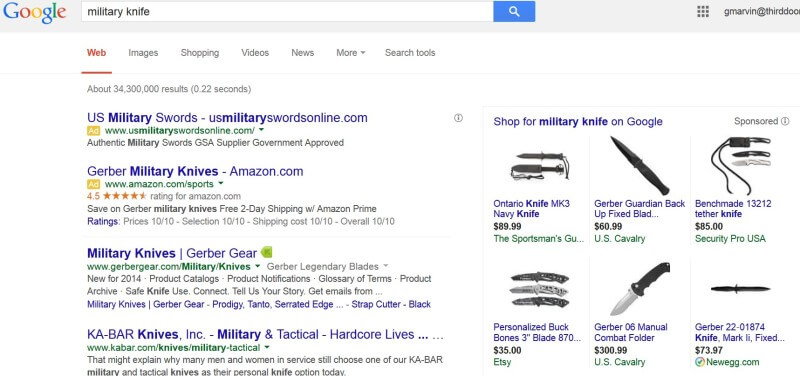 Google adwords policy military knife ads