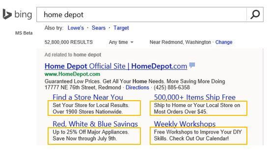 Bing Ads enhanced sitelinks